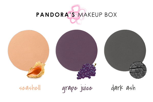 PANDORA'S Seashell, Grape Juice, and Dark Ash Eye Shadows
